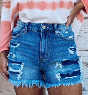 Denim Distressed Maya Mom Short - Dark Wash