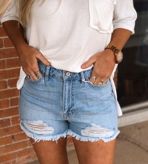 Hazel Distressed High Rise Shorts