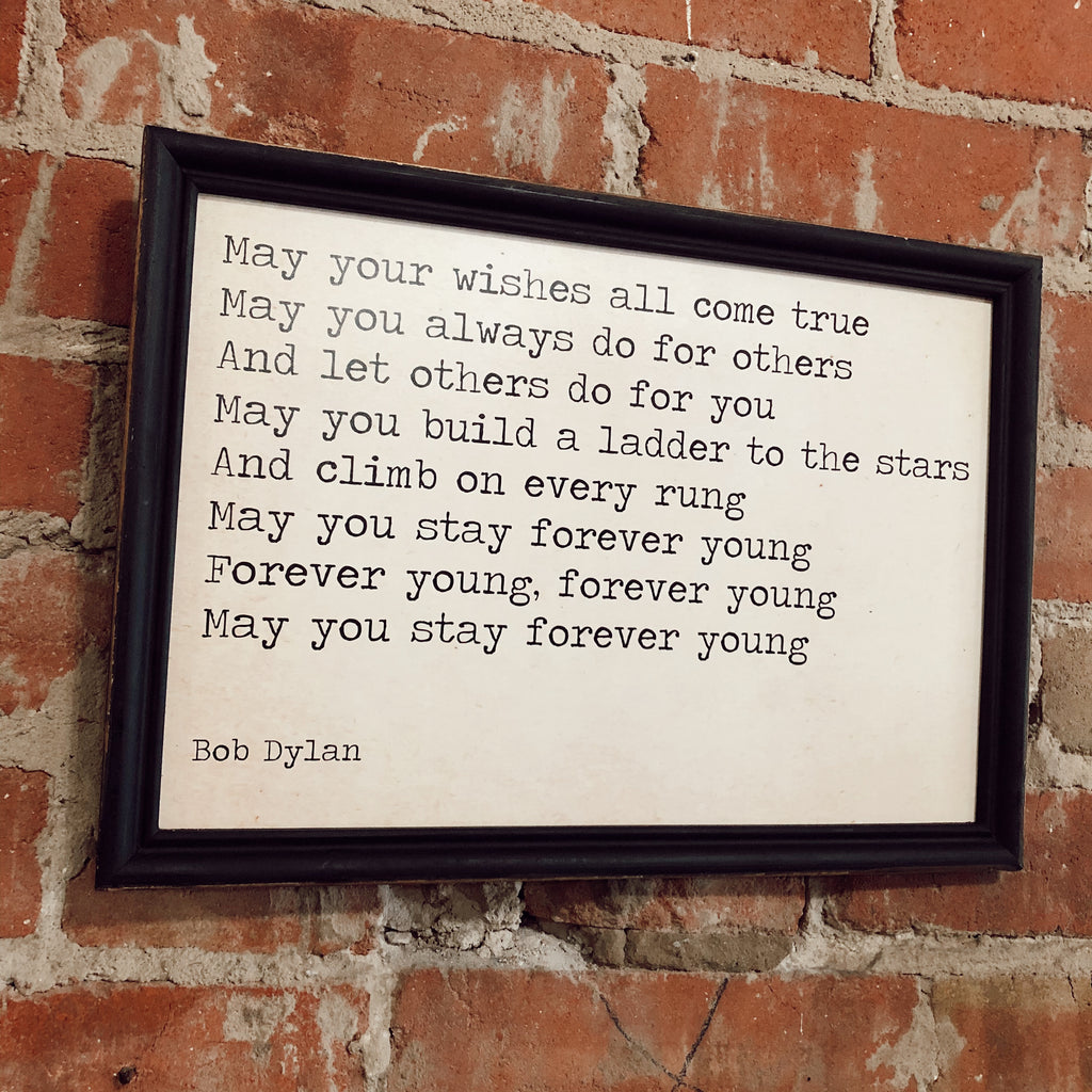 Bob Dylan Lyrics Wood Framed Wall Decor