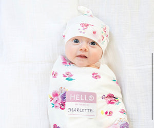 Posie Muslin Swaddle and Hat Set