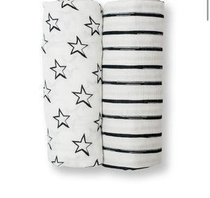 Stars and Stripes Muslin Cotton Swaddle Blanket Set