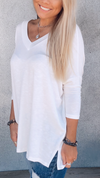 White V-Neck Basic Top