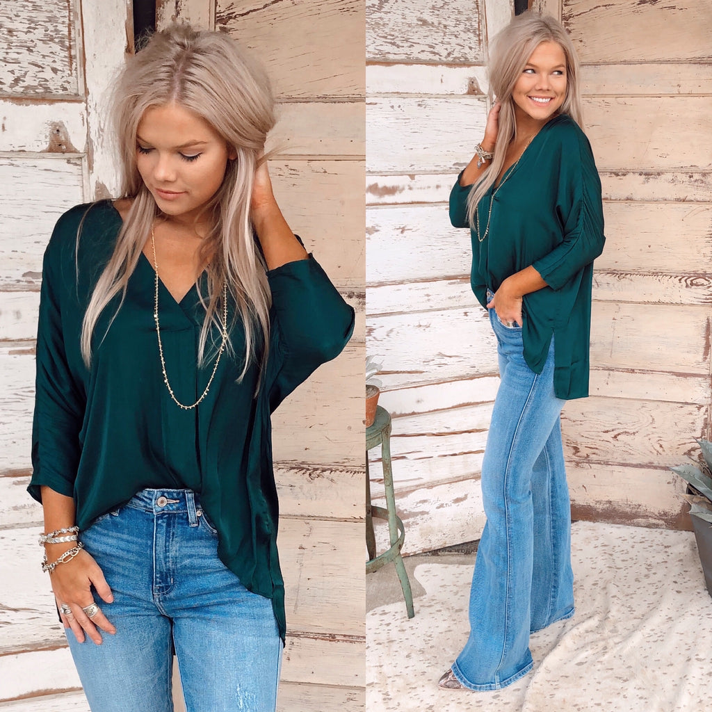 Hunter Silk Hi-Low Blouse