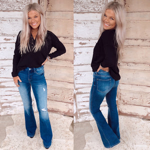 Bella High Rise Distressed Flares