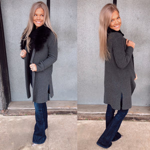 The Foxy Charcoal Cardigan with detachable faux fur