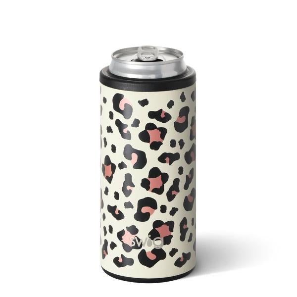 Swig Leopard Skinny Can Cooler