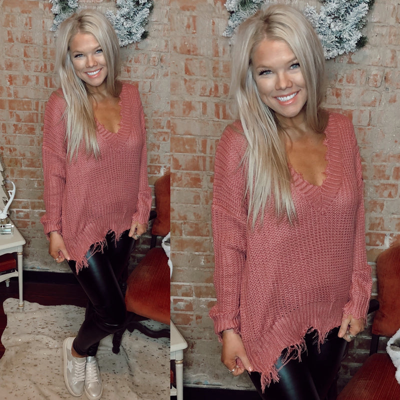 Ash Rose Distressed Sweater