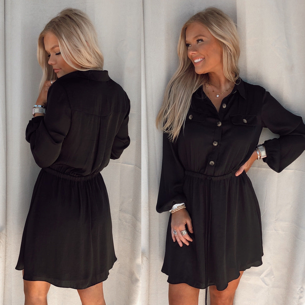 Bennie Button Up Black Dress