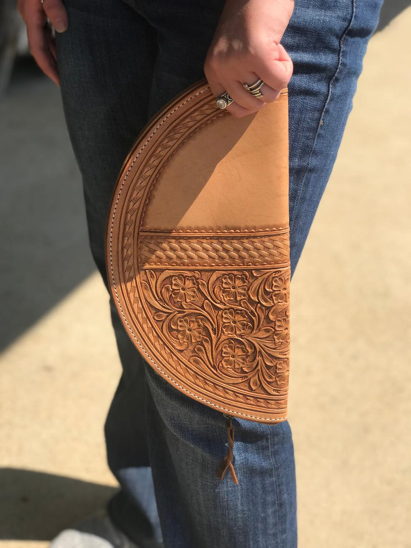 Tooled Leather Taco Clutch