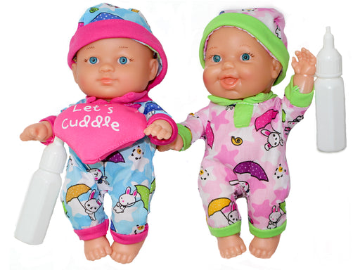 Baby First Born Twin Dolls & Doll Crib Set