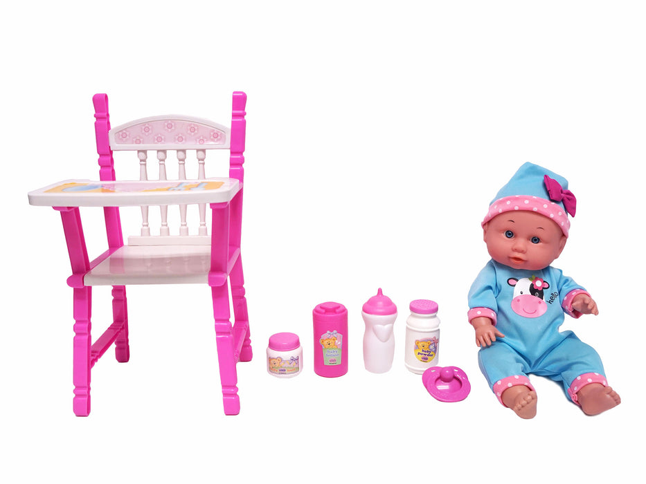 Little Luv Baby Doll with High Chair Gift Set