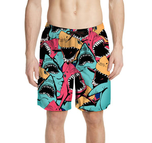 Men's Printed Shark Trunks Swim Shorts
