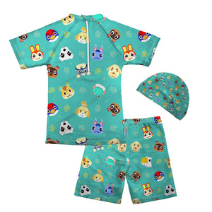 Kids Boys Animal Crossing New Horizons Wear Surfing Suits Sun Protection Beach Swimsuit Swimwear 3 pcs
