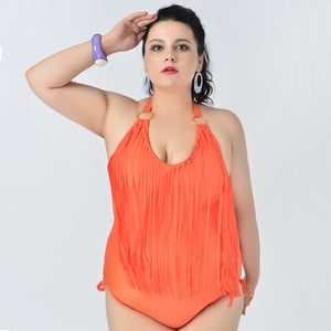 Plus Size Bikini 2019 Women Tassel Padded Orange Bikini One Piece Swimsuit