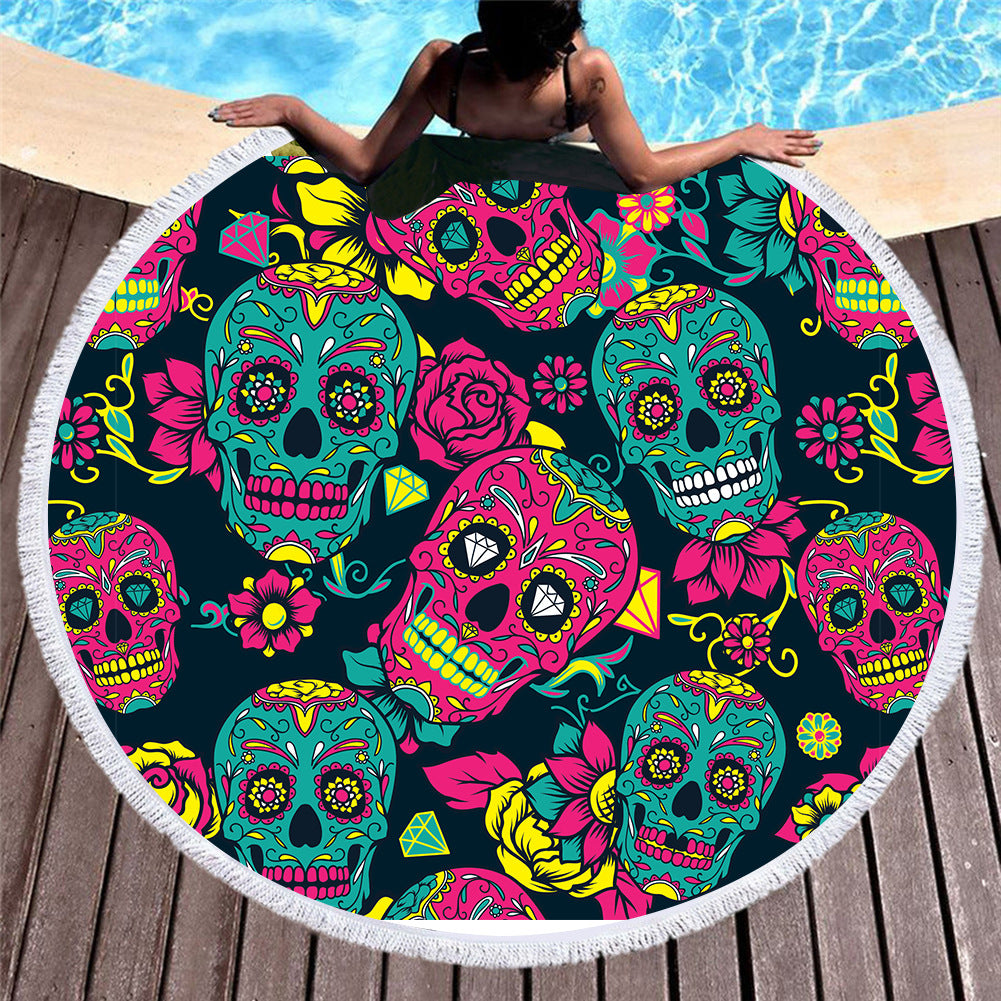 Skull Skeleton Flowers Beach Towel Blanket