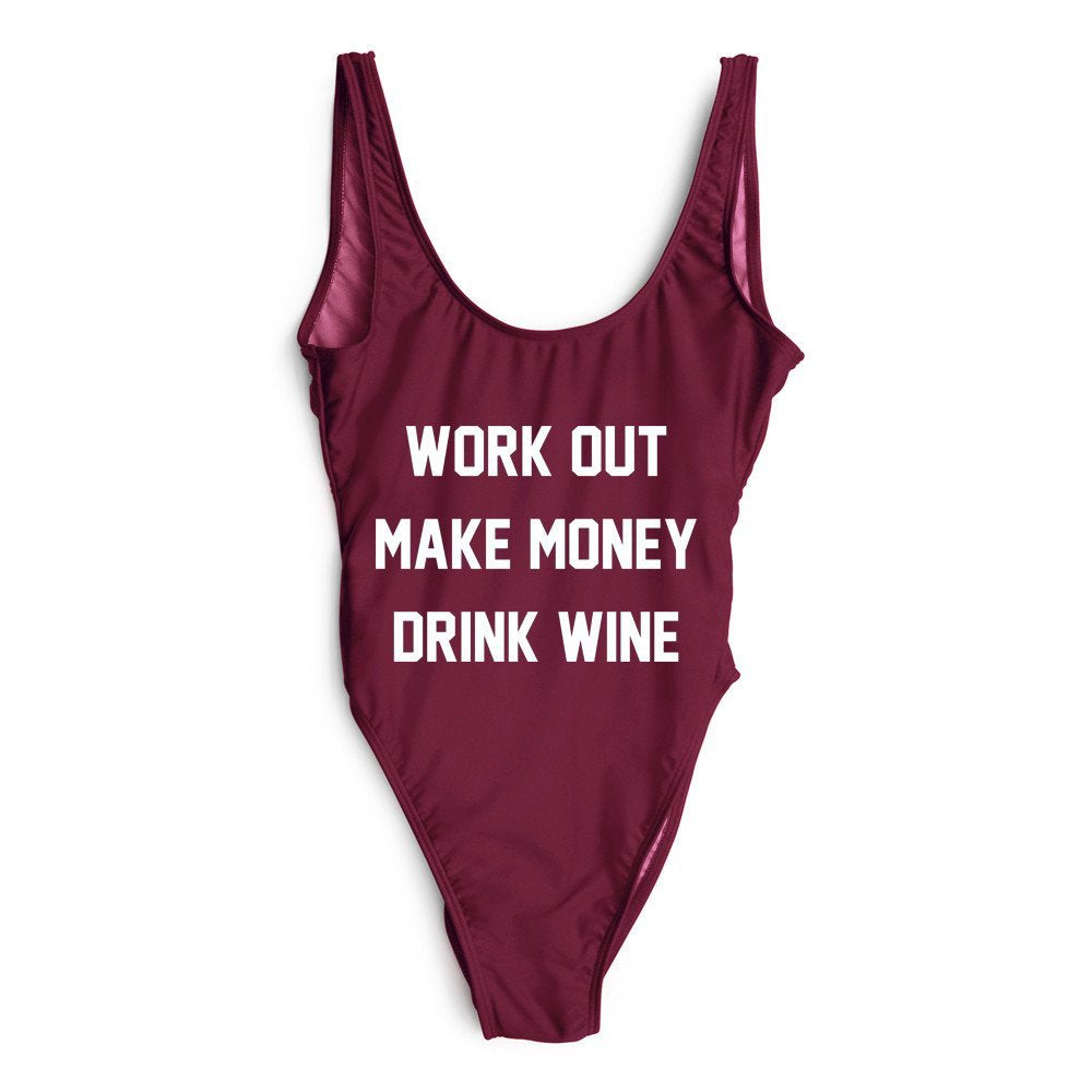 Work Out Make Money Drink Wine One Piece Swimsuit