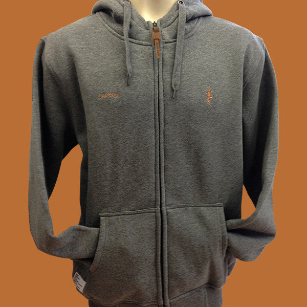 High neck zip-up hoodie - Dark Marl