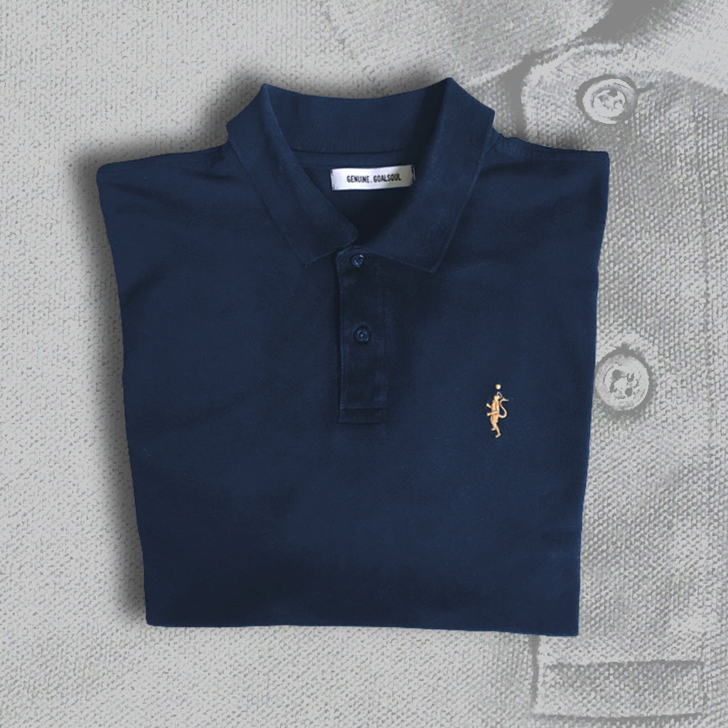 Classic Pique Polo - French Navy and Tan
