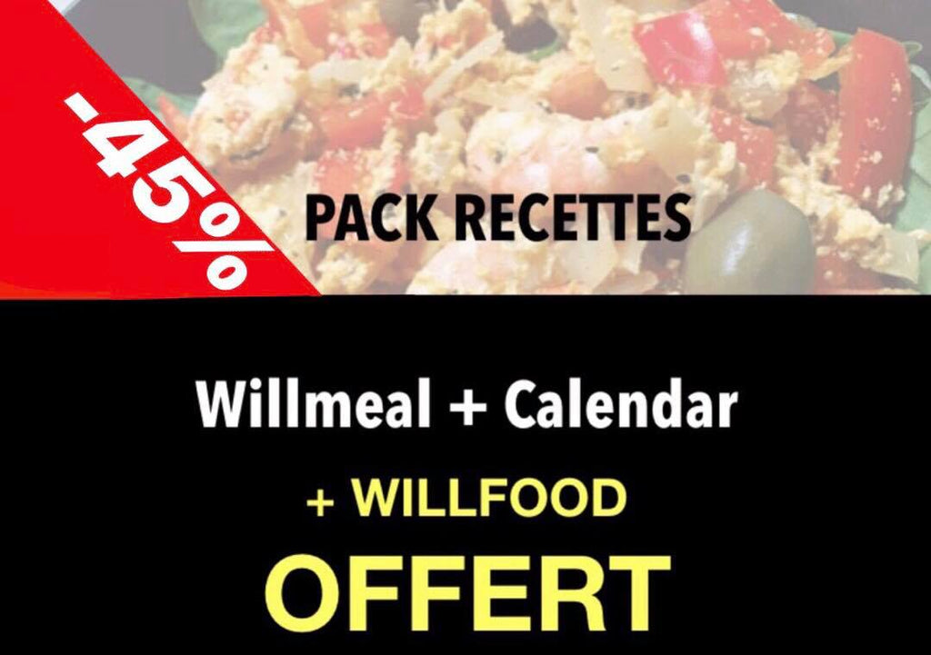 PACK RECETTES : Willmeal, Calendar + Willfood OFFERT! SOLDES EXCEPTIONNELLES de -45% !