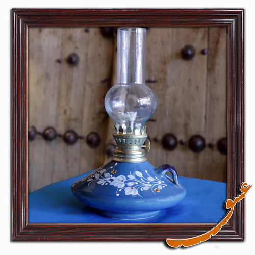 Kerosene Lamp With Beautiful Painting and Ceramic Basement - gallery-eshgh