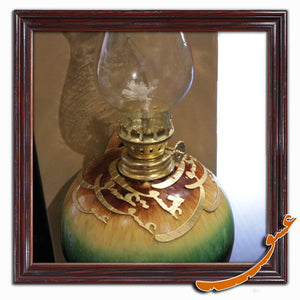 Kerosene Lamp for Wall Decor With Wooden Calligraphy and Ceramic Basement - gallery-eshgh