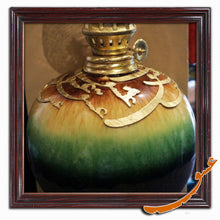 Load image into Gallery viewer, Kerosene Lamp for Wall Decor With Wooden Calligraphy and Ceramic Basement - gallery-eshgh