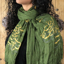 Load image into Gallery viewer, Women Shawl/Scarf with Printed Calligraphy of aPersian Poem - Olive - gallery-eshgh