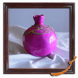 Hand Made Ceramic Pomegranate with Wooden Calligraphy - Pink Lady - gallery-eshgh