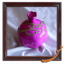 Load image into Gallery viewer, Hand Made Ceramic Pomegranate with Wooden Calligraphy - Pink Lady - gallery-eshgh