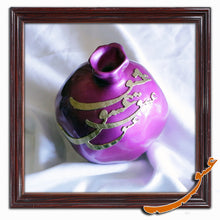 Load image into Gallery viewer, Hand Made Ceramic Pomegranate with Wooden Calligraphy - Violet - gallery-eshgh