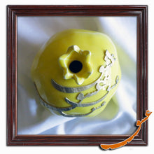 Load image into Gallery viewer, Hand Made Ceramic Pomegranate with Wooden Calligraphy - Yellow - gallery-eshgh
