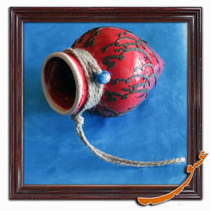 Hand Made Ceramic Potteries - Hanging Wall Decoration With Rope - Red - gallery-eshgh