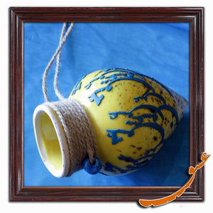 Hand Made Ceramic Potteries - Hanging Wall Decoration With Rope - Yellow - gallery-eshgh