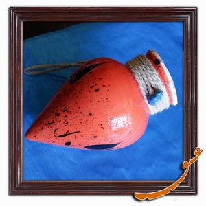 Hand Made Ceramic Potteries-Hanging Wall Decor-Dropped Ink-Red - gallery-eshgh