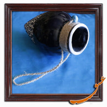 Load image into Gallery viewer, Hand Made Ceramic Potteries - Hanging Wall Decoration - Carved Pattern - Black - gallery-eshgh