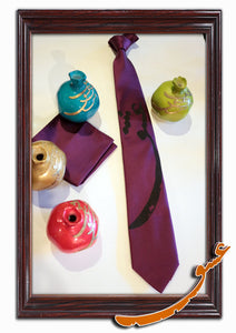 "Tie With Printed Word of ""Love"" in Farsi+Handkerchief-Pattern1 - gallery-eshgh"
