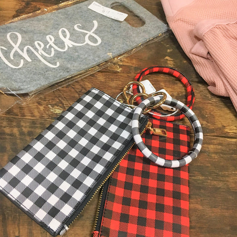Plaid Wristlet - Lotus Ave. Boutique