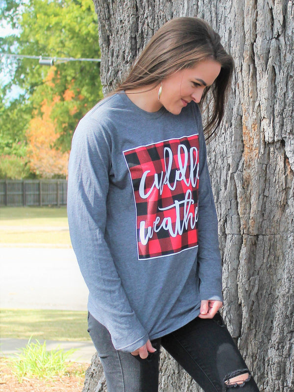 Cuddle Weather Long Sleeved Tee - Lotus Ave. Boutique