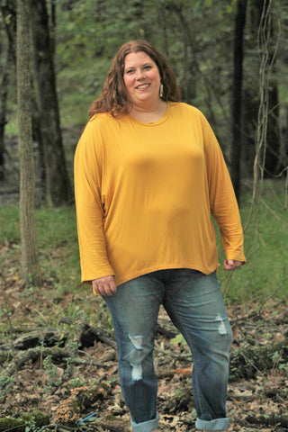 Yellow Dolman Top - Curvy - Lotus Ave. Boutique