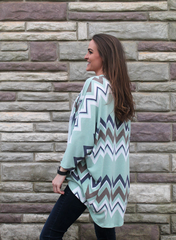 Chevron Cardigan - Lotus Ave. Boutique