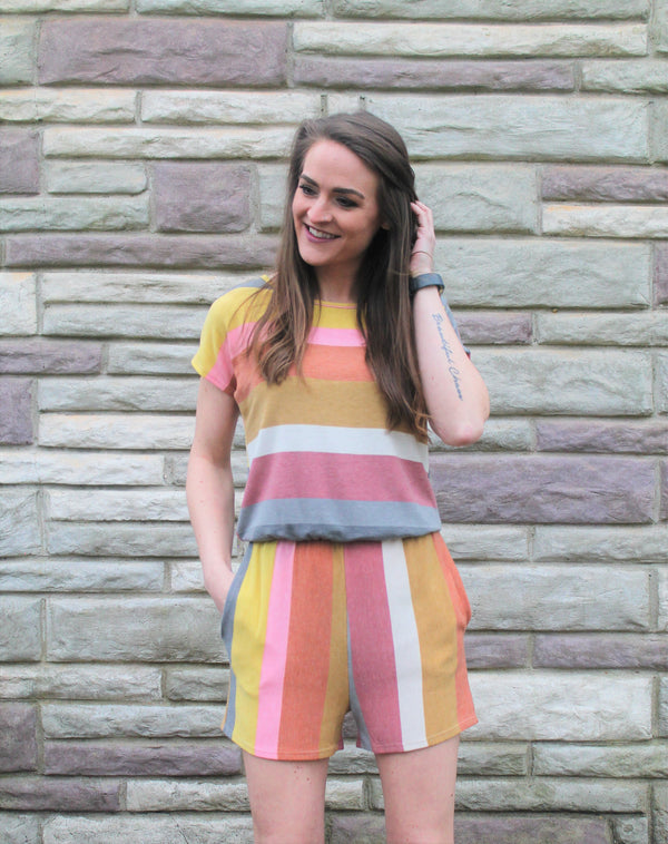 Sherbert Striped Romper - Lotus Ave. Boutique