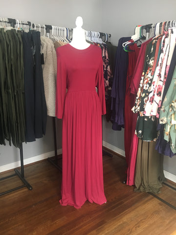 Berry 3/4 Sleeved Maxi Dress - Lotus Ave. Boutique
