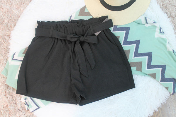 Paper Bag Shorts  Black - Lotus Ave. Boutique