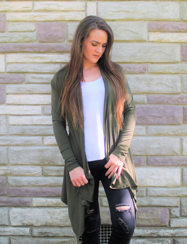 Olive Green Cardigan - Lotus Ave. Boutique