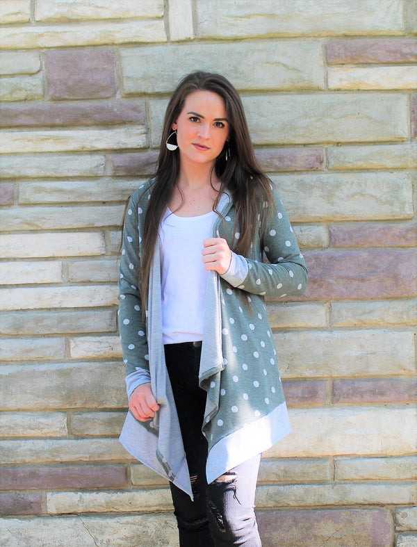 Olive Polka Dot Cardigan - Lotus Ave. Boutique