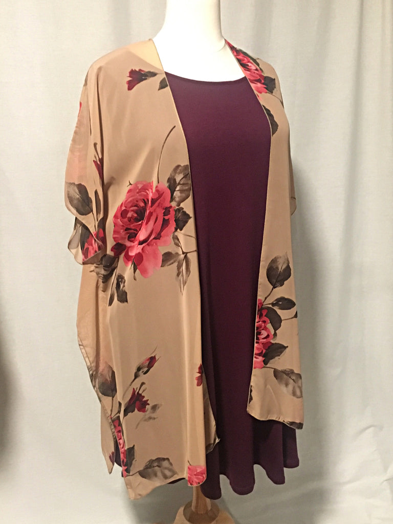 Carried Away Floral Cardigan-Curvy - Lotus Ave. Boutique