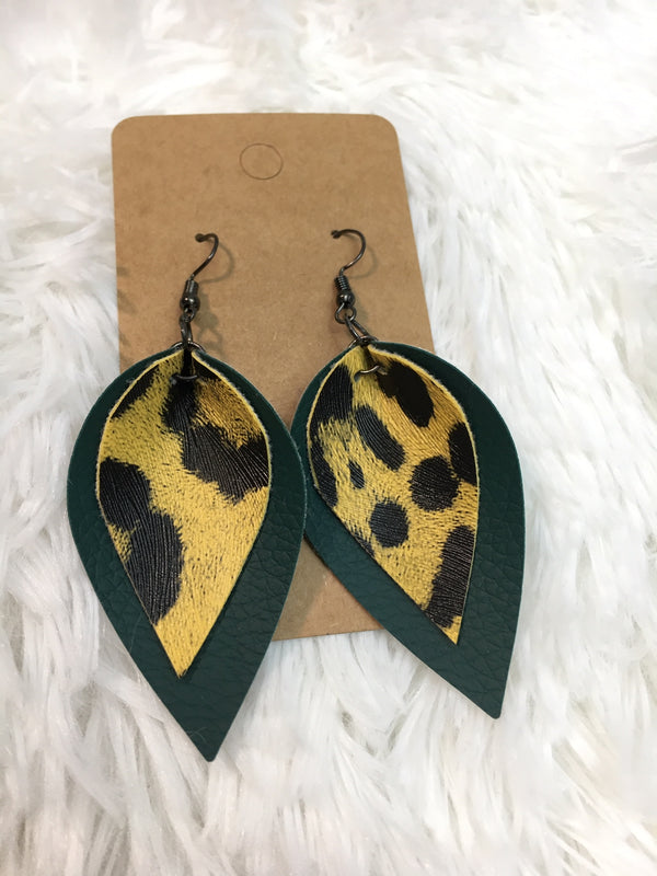 Animal Print Leather Leaf Earrings - Lotus Ave. Boutique