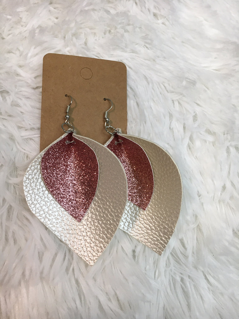 Leather Glitter Leaf Earrings - Lotus Ave. Boutique