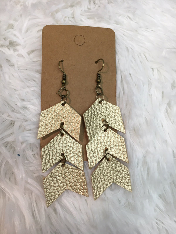 Arrow Stack Leather Earrings - Lotus Ave. Boutique