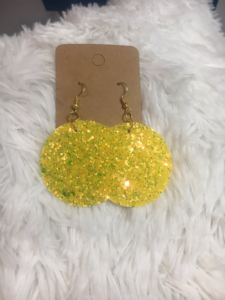 Yellow Leather Circle Earrings - Lotus Ave. Boutique